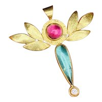 Vintage Estate 18k Gold Handmade 7ct Diamond Pink & Green Tourmaline Cabachon Pendant for Necklace