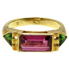 Vintage Estate 18k Gold Pink Green Tourmaline Band Ring