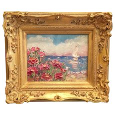 """Abstract Seascape View"", Original Oil Painting by artist Sarah Kadlic, 8x10"" with European Gilt Leaf Frame"
