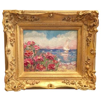 """""""Abstract Seascape View"""", Original Oil Painting by artist Sarah Kadlic, 8x10"""" with European Gilt Leaf Frame"""