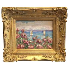 """Abstract Pink Wildflowers Seascape"", Original Oil Painting by artist Sarah Kadlic, 13x15"" French Gilt Wood Frame"