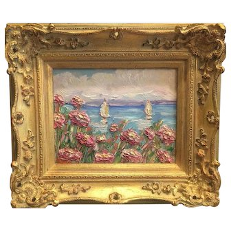 """""""Abstract Pink Wildflowers Seascape"""", Original Oil Painting by artist Sarah Kadlic, 13x15"""" French Gilt Wood Frame"""