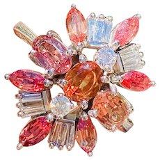 Vintage Midcentury Retro 14k White Gold 3.65ctw Pink Orange Sapphire Diamond Cocktail Ring