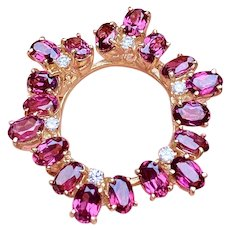 Striking Vintage 14k Gold Diamond Pink Tourmaline Brooch