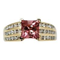 Vintage Estate 14k Gold 2.25 ctw Pink Tourmaline Diamond Cocktail Ring