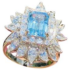 Vintage Ring-dant Platinum 4ct Aquamarine G VS Diamond Ballerina Ring