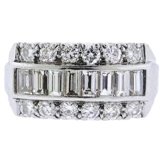Stunning Platinum 1.52 ct F/VS Diamond Brilliant Baguette Wedding Ring Anniversary Band
