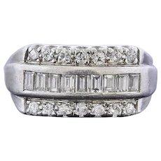 Vintage Mid Century 1950s Platinum 1.00ct Diamond Cluster Ring Band
