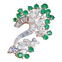 Retro 1950s Vintage Estate Platinum VS Diamond Emerald Necklace Pendant
