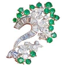 Retro 1950s Vintage Estate Platinum VS Diamond Emerald Necklace Pendant
