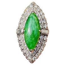 Impressive Art Deco 1940s-50s Platinum Diamond Jade Marquise Navette Cocktail Ring