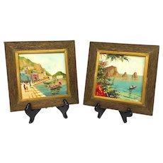 Wonderful Vintage Pair Mid-Century 1950s Original Oil Paintings on Tile Signed by Listed Artist Antonio De Vity