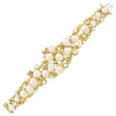 Impressive Peter Lindeman 18k Gold Cultured Semi-Baroque Cultured Pearl Diamond Bracelet