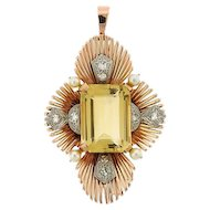 Breathtaking Impressive Raymond Yard French 14k Gold Yellow, Platinum 950 Diamond Cultured Pearl Citrine Brooch / Pendant / Pin for Necklace, 1940s - 1950s