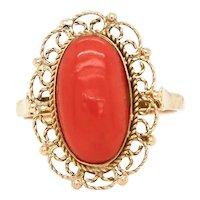 Vintage Estate 14k Gold Large Red Coral Filigree Statement Cocktail Ring