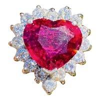 Vintage Ring-dant 14k Gold  8.28ct Heart Shaped Rubellite VS Diamond Baguette Ballerina Ring