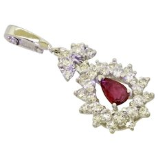 Stunning Vintage Estate 18K Gold 1.86ct Diamond Halo Pear Ruby Diamond Pendant