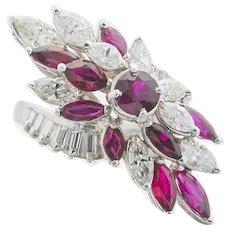 Impressive Vintage 1950s Retro Platinum 4.50ct Ruby VS Diamond Bypass Ring