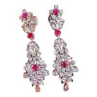 Impressive Vintage Estate Platinum 2.75ctw Ruby Diamond Pendant Dangle Drop Earrings