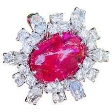 Striking 18k White Gold Vintage Large Ruby Cabchon Marquise Diamond Halo Ring