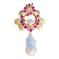 Stunning Vintage 14k Gold Estate 4.44ct Ruby Diamond Baroque Pearl Brooch Necklace Pendant
