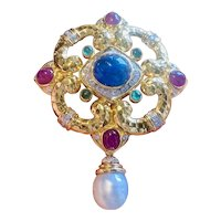 Large Heavy Vintage 14k Gold Emerald Sapphire Ruby Cabachon Diamond Brooch Pendant Webb Style