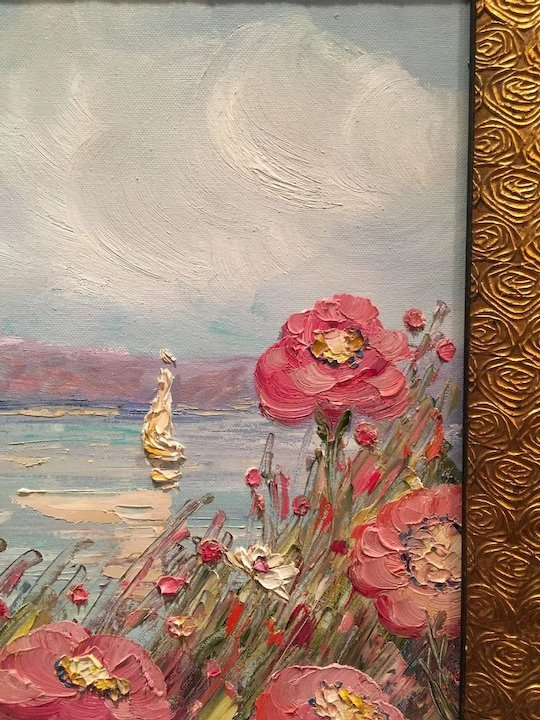 Abstract seascape wild pink flowers original oil painting by abstract seascape wild pink flowers original oil painting by artist sarah kadlic mightylinksfo