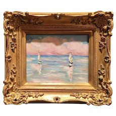 """Sailboats Seascape Sunset Abstract"", Original Oil Painting by artist Sarah Kadlic, Gilt Wood Carved Frame"