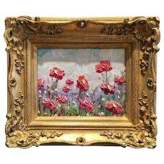 """Expressionist Pink Red Wild Flowers Landscape"", Original Oil Painting by artist Sarah Kadlic, Gilt European Frame"