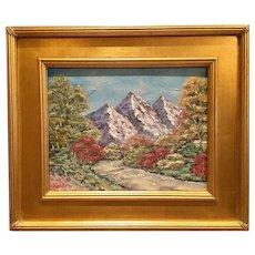"""Abstract Trees Mountain Landscape"", Original Oil Painting by artist Sarah Kadlic, 11x14"" + Gilt Frame"