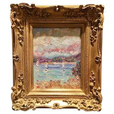 """Sailboats Seascape Abstract"", Original Oil Painting by artist Sarah Kadlic, 8x10"" + Gilt French Frame"