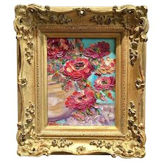 """Abstract Pink Floral Still Life"", Original Oil Painting by artist Sarah Kadlic, 13x15"" Gilt Framed"