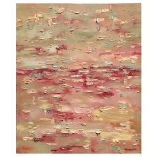 """""""Abstract Expressionist Pale Pinks & Gray Impasto"""", Original Oil Painting by artist Sarah Kadlic. 24x20"""""""