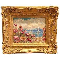 """Abstract Seascape View II"", Original Oil Painting by artist Sarah Kadlic, 13""x15"" Gilt Leaf Wood Frame"