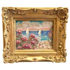 """""""Floral Poppies Seascape View"""", Original Oil Painting by artist Sarah Kadlic, 8x10"""" with European Gilt Leaf Frame"""