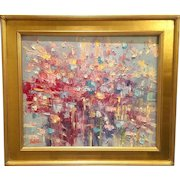 """""""Abstract Expressionist Intersection """" Original Oil Painting by Artist Sarah Kadlic, 24x20"""" with Gilt Leaf Wood Frame"""