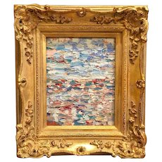 """Abstract Seascape in Blues"", Original Oil Painting by artist Sarah Kadlic, 13x15"" Giltwood Frame"