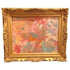 """Abstract Pinks, Golds & Blue Marbling"", Original Acrylic Painting by artist Sarah Kadlic."