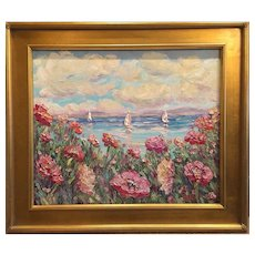 """Abstract Wildflowers Seascape"", Original Oil Painting by artist Sarah Kadlic, 24x20"" with Gilt Leaf Wood Frame"