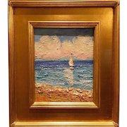 """Sailboat & Beach Seascape Abstract"", Original Oil Painting by artist Sarah Kadlic, 8x10"" Gilt Leaf Wood Frame"