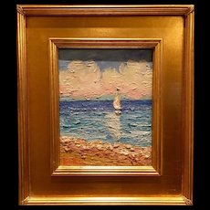 """Sailboat & Beach Seascape Abstract"", Original Oil Painting by artist Sarah Kadlic, 8x10"" Gilt Leaf Wood Frame"