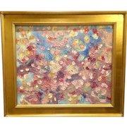 """Abstract Expressionist - Ephemeral Colors"", Original Oil Painting by artist Sarah Kadlic, 24x20"" Gilt Leaf Wood Frame"