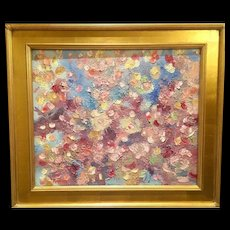"""Abstract Expressionist - Ephemeral Colors"", Original Oil Painting by artist Sarah Kadlic, 24x20"" Gilt Leaf Wood Frame"