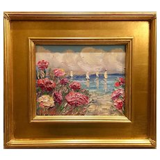 """Abstract Seascape Floral View I"", Original Oil Painting by artist Sarah Kadlic, 13x15"" Gilt Wood Frame"