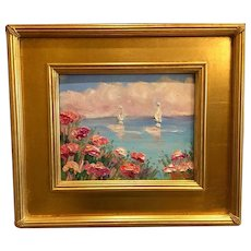 """Abstract Seascape View II"", Original Oil Painting by artist Sarah Kadlic, 13""x15"" Gilt Leaf Wood Frame"
