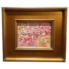 """Abstract Impasto Pink Reflections"", Original Oil Painting by artist Sarah Kadlic, 6x8"" Framed Gilt Wood Frame"