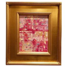 """Abstract Impasto of Pink Color"", Original Oil Painting by artist Sarah Kadlic, 8x10"" Framed Gilt Plein Air Frame"