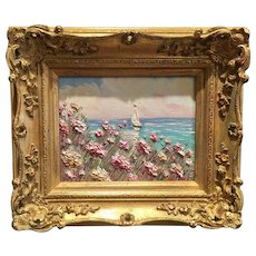 """Abstract Pink Wildflowers Seascape"", Original Oil Painting by artist Sarah Kadlic, 13x15"" Gilt Framed"
