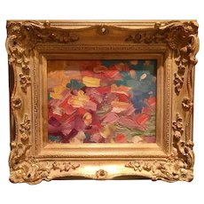 """Abstract Impasto of Color"", Original Oil Painting by artist Sarah Kadlic, 13x15"" Gilt Wood Frame"
