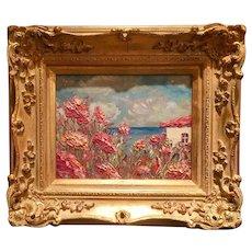 """Pink Poppies & Villa"", Original Oil Painting by artist Sarah Kadlic, 8x10"" with European Gilt Wood Frame"